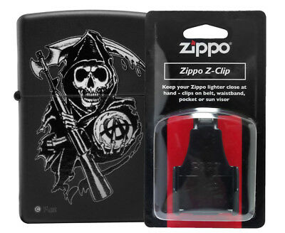 Zippo Lighter 28504 Sons of Anarchy Black Matte +121506 Black Plastic Clip