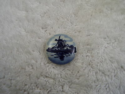 Delph Delft Blue Windmill Porcelain Pin  (C79)