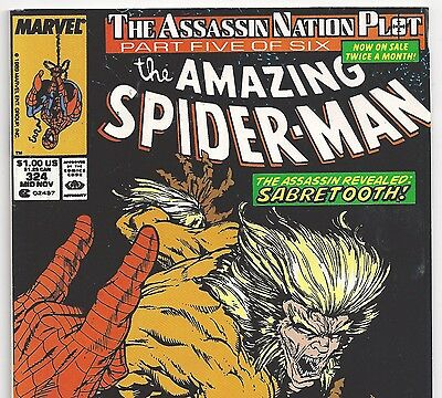 The Amazing Spider-Man #324 vs. SABRETOOTH from Nov. 1989 in VF+ condition NS