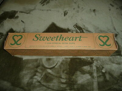 Vintage Sweetheart Ice Cream Paper Cups Orig Box Soda Fountain Counter Dispenser