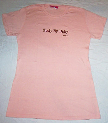 NEW Mollyanna Maternity ~BODY BY BABY ~STRETCH T SHIRT Peach $32 + Pads Samples