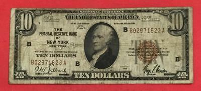"""1929 $10 Brown Seal National Currency """"NEW YORK"""" Old US Paper Currency"""