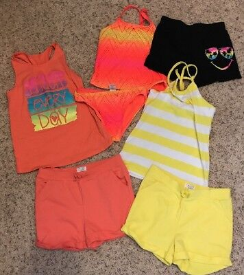 Lot of 7 Pieces girls Shorts, Tops, Swimsuit NWOT SZ 10/12