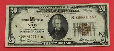1929 $20 Brown Seal National Currency DALLAS! Key to Series ! FINE! CV $150 VF!