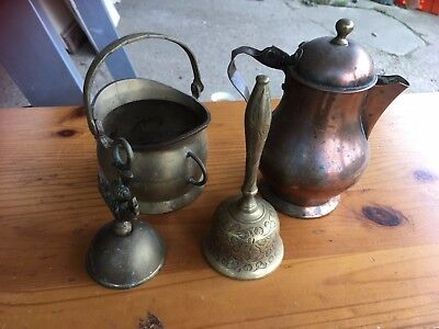 Vintage Antique Brass Copper items Bell Coffee Pot etc x 4