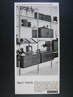 1965 OMNI Wall System shelving cabinets furniture mcm photo vintage print Ad
