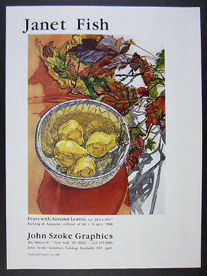 1988 Janet Fish Pears with Autumn Leaves etching aquatint offer vintage print Ad