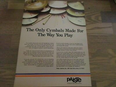 Paiste Drum Cymbals - Made For The Way You Play  1983 Print Ad