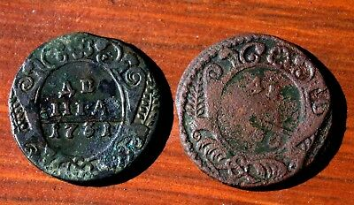 2 Very Old Russian Bronze Coins Dated 1700's LOT #15