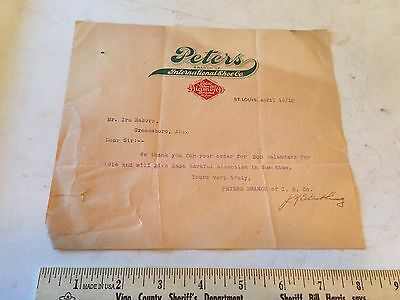 1913 PETERS SHOES Diamond Brand Letter ST LOUIS Missouri - Dealer Calender Order