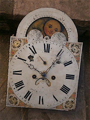 12+16+1/2 inch 8day  MOONPHASE  c1840 LONGCASE  CLOCK dial + movement