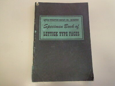 Specimen Book of Lettick Type Faces 1970's Typographical Typesetting Fonts
