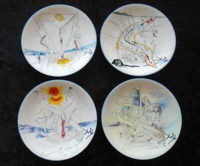SALVADOR DALI~Limoges Porcelain Plates~ SET OF 4 ~ The Conquest Of Cosmos 1974