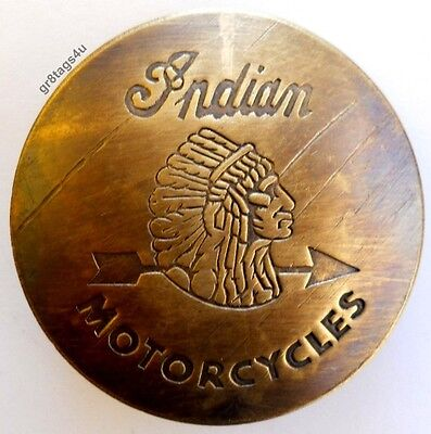 Solid Brass Indian Chief Motorcycle Badge