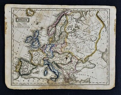 1823 Woodbridge Map Europe - France Italy Spain Austria Germany Russia Sweden