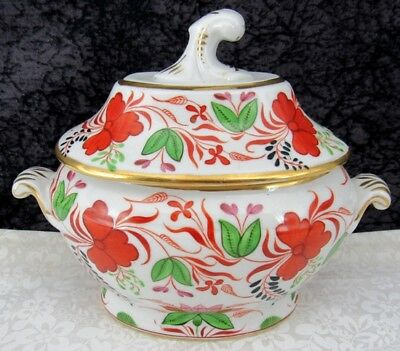 Early Coalport England Hand-painted Floral & Vine Porcelain Sauce Tureen