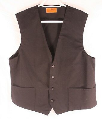 Server Waiter Vest Uniform Black 2-Pocket USA Size Large Lightly Used
