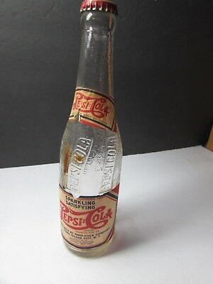 Cool Vintage 1950S Pepsi Cola Bottle With Paper Label And Lid Buffalo Ny