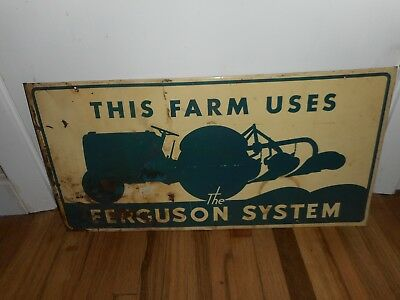 Vintage FORD FERGUSON SYSTEMS FARM TRACTOR Metal Tin Advertising SIGN ORIGINAL