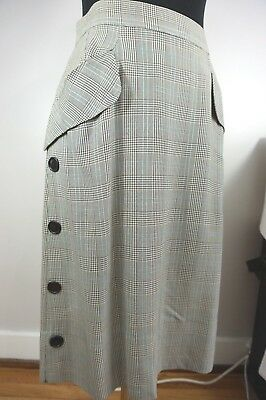 40s Glen Plaid Gabardine Skirt w/ Lotsa' Buttons and Big Flap Pockets! Waist 29