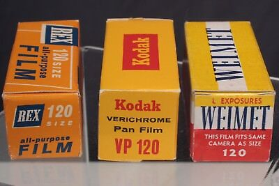 Lot of 3 B&W roll film, Rex 120, VP120 and Weimet120.