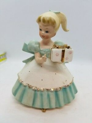 Vintage Napcoware Robin Egg Turquoise Blue Girl with Gift Figurine Present C6434