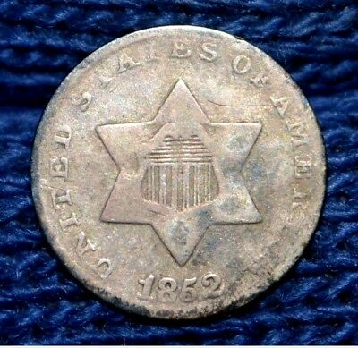 1852 3-Cent Silver Piece ** Trime ** VG/FINE **Nicely Toned !