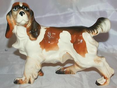 Vintage LARGE English Setter Dog Figurine 1950s Hand Painted HUGE Ceramic OLD