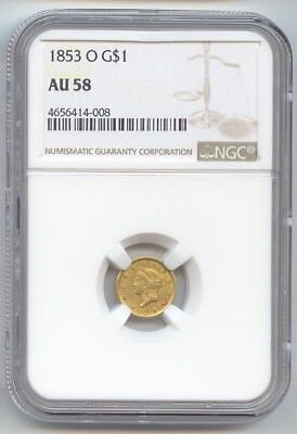 1853-O Gold Dollar, Type 1, New Orleans, NGC AU-58