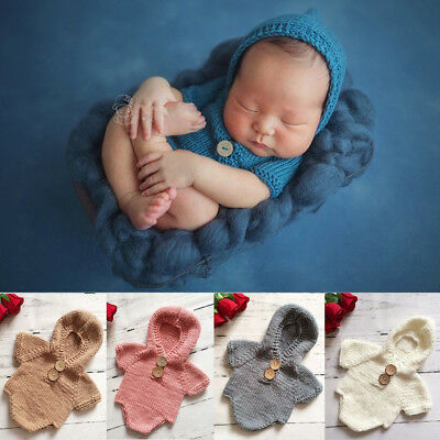 Hot Girls Boys Baby Knit Crochet Hooded Romper Photo Photography Prop Outfits