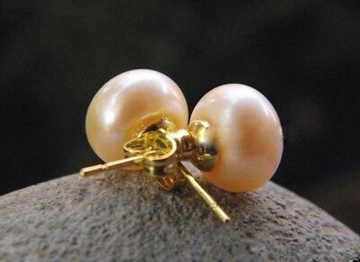 AAA+ Genuine Natural 11-12mm Pink Akoya Pearl Stud Earring 14K Gold Plated