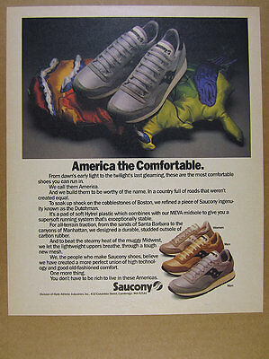 1985 Saucony AMERICA Running Shoes color photo vintage print Ad