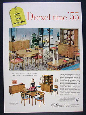1955 Drexel Furniture Biscayne table chairs sideboard hutch vintage print Ad
