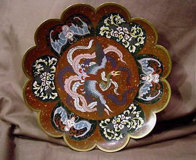 "Antique Meiji Japanese Cloisonne 9 3/4"" Plate W/ Phoenix Bird Bats & Flowers"