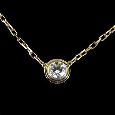 "Collier Pendentif Cartier Collection "" Diamant leger "" 0.18 Cts Or jaune 18k."