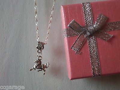 Silver Twist 20 Inches Necklace Horse Pony Pendent Gift Box Birthday Party Bag