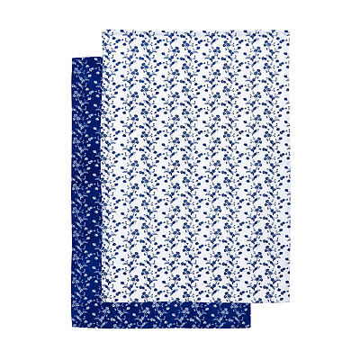 Blue Rose Set Of 2 Tea Towels Cotton Kitchen Cleaning Dish Drying Large Cloths