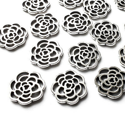 15 Rose Flower Charms Embellishment Silver Plated 16mm Scrapbook Jewellery Craft
