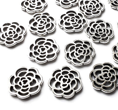 15 x Rose Flower Charms Pendant Embellishment Silver Plated 16mm Jewellery Craft