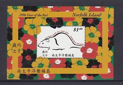 NORFOLK Island 1996 Year of the Rat [Chinese New Year] MINISHEET MNH