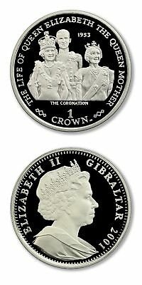 Gibraltar Life of the Queen Mother The Coronation 2001 Proof Silver Crown