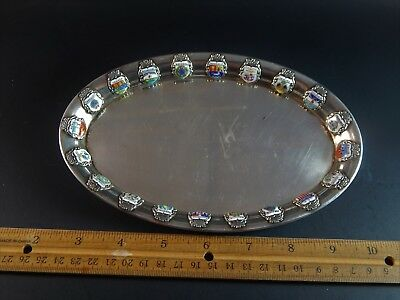 """Interesting Unique Silver Tray With 20 Silver Enamel Country Medallions  7.5"""""""