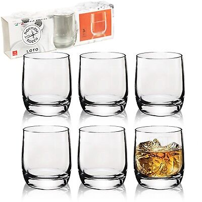 3 or 6 200ml Bormioli Rocco Loto Short Drinking Glasses Whisky Tumblers Cups Set