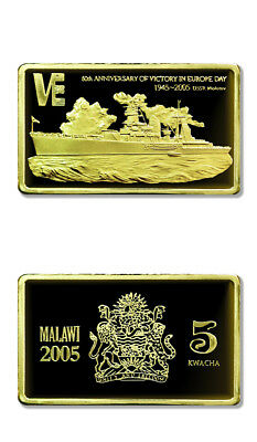 Malawi 60th Anniversary of VE Day USSR Molotov 5 Kwacha 2005 Gilded Proof Crown