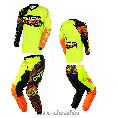 O'NEAL Element Burnout ORANGE JAUNE PANTALON JERSEY MX MOTOCROSS ENDURO COMBO