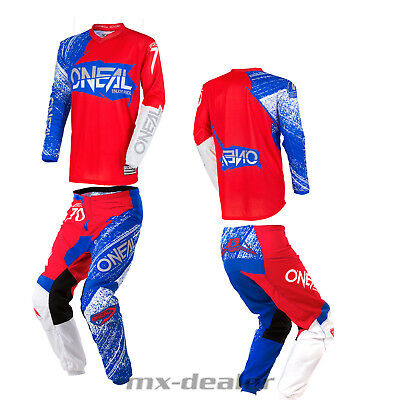 O'NEAL Element Burnout BLEU ROUGE PANTALON JERSEY MX MOTOCROSS ENDURO COMBO