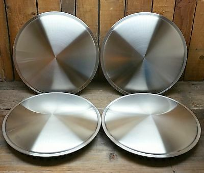 "Set Of Four Salt Disc Hub Caps 16"" Hot Rod Custom Vtg Style Rat Race Car Racing"