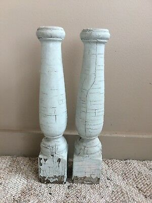 Two(2) RECLAIMED Wood Candlesticks  Candle Holders Antique White Blue 126-18