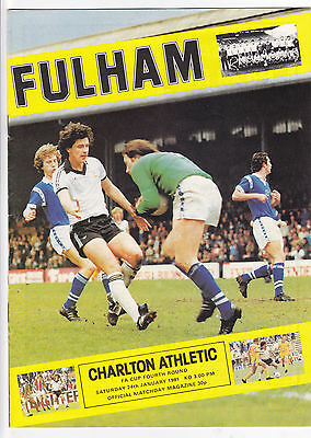 Fulham V Charlton Athletic Fa Cup 24/1/81