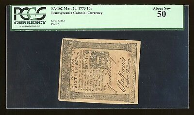 1773 16 Shillings Pennsylvania Colonial Currency PCGS 50 PA-162